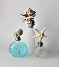 Seashell Soldered Glass Bottles Shabby Beach Decor