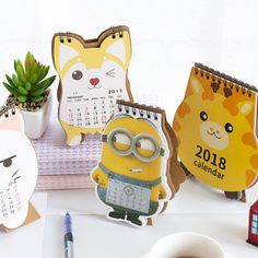 Peerless New Desk Standing Paper Calendar Multifunction Schedule Planner Notebook Kawaii Cartoon Animal Calendar Wide Selection; Calendar