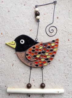 Kropenatý ptáček / Zboží prodejce Keramika Halama | Fler.cz Inspiration Wall, Andy Warhol, Bird Art, Wind Chimes, Polymer Clay, Objects, Ceramics Ideas, Birds, Wall Art