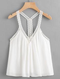 Shop Crochet Trim Cami Top online. SheIn offers Crochet Trim Cami Top & more to fit your fashionable needs.
