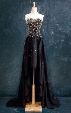 A Line Sweetheart Chiffon Asymmetrical Beading Lace Up Black High Low Prom Dress