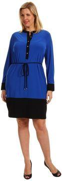 Blue Long Sleeve Calvin Klein Dress at ShopStyle