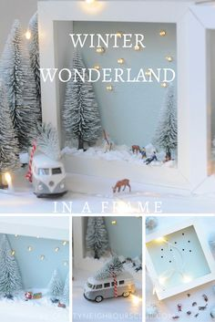 Winterlandschaft im Bilderrahmen - ein diy im Winter DIY for a winter landscape in the picture frame. An atmospheric decoration in the winter time. Instructions on mrsgreenhouse. Winter Diy, Winter Christmas, Christmas Time, Christmas Crafts, Christmas Decorations, Ikea Christmas, Winter Craft, Winter Ideas, Wall Decorations