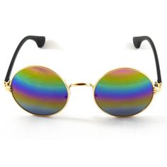 John Lennon Sunglasses Hippie Retro Round Style Circle Gold metal frame with…