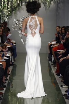"""""""Giselle"""" ivory crepe sheath gown with hand-embroidered illusion back by THEIA Spring 2016 Collection. Photography: Courtesy of THEIA Read More: http://www.insideweddings.com/news/fashion/theia-spring-2016-collection/1850/"""