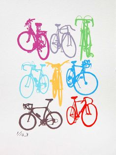 Bike Art Bicycle Color Chart Screenprint by bicyclepaintings
