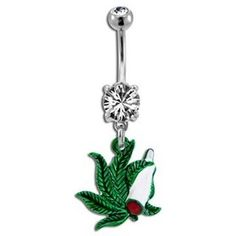 Pot Leaf & Joint Belly Piercing Bellybutton Piercings, Cool Piercings, Body Piercing, Peircings, Belly Button Jewelry, Belly Button Rings, Bff Necklaces, Belly Rings, Ring Earrings