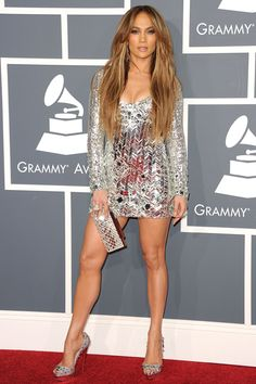 Who: Jennifer Lopez What: Emilio Pucci dress and Christian Louboutin shoes at the Grammy Awards. We all know I love sparkly things!