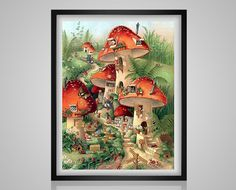 Illustration by Shirley Barber Art And Illustration, Creative Illustration, Fantasy Kunst, Fantasy Art, Art Fantaisiste, Mushroom Art, Mushroom Images, Mushroom House, Flower Fairies