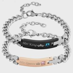 Jovivi Men Women Stainless Steel CZ Her King & His Queen Couples Bracelets Matching Set in Gift Box Gemstone Bracelets, Link Bracelets, Bracelets For Men, Fashion Bracelets, Bangle Bracelets, Bangles, Old Jewelry, Jewelry Making Beads, Jewelry Gifts