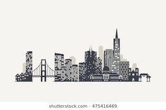 San Francisco Skyline Silhouette Stock Vector - Illustration of panorama, building: 77017948 San Francisco Tattoo, San Francisco Art, San Francisco Skyline, Skyline Image, Skyline Art, New York Skyline, Around The World Prom Theme, Skyline Tattoo, Skyline Silhouette