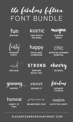 15 Fabulous Fonts for graphic design projects, web design, blogging, crafting, weddings, DIY projects and more. Includes script fonts, sans serif, serif, handwritten and calligraphy