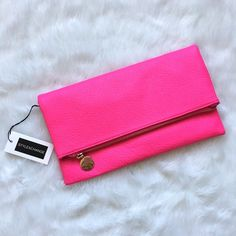 Hot Pink Clutch NWT SO fun!!! Never used NWT Bags Clutches & Wristlets