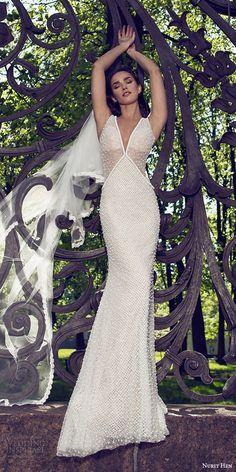 nurit hen 2016 bridal sleeveless thick straps v neck sheath wedding dress (17) sexy elegant mv