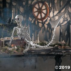 You ever wonder what a mermaid skeleton would look like? Well, we did! Add this mermaid skeleton to a spooky Halloween scene! A great addition to your . Halloween Mono, Halloween Scene, Theme Halloween, Spooky Halloween, Vintage Halloween, Halloween Crafts, Halloween 2019, Halloween Stuff, Happy Halloween