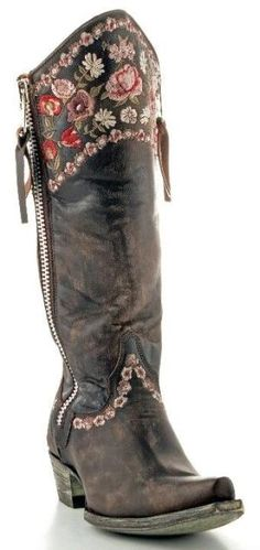 American Hippie Bohemian Style ~ Boho Embroidered boot by Gates196