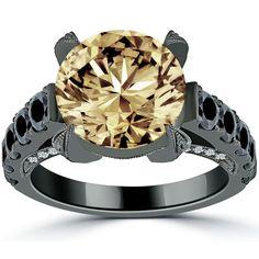 6.95 Carat Natural Fancy Champagne Brown Diamond Engagement Ring 14k Black Gold #LioriDiamonds #DiamondEngagementRing