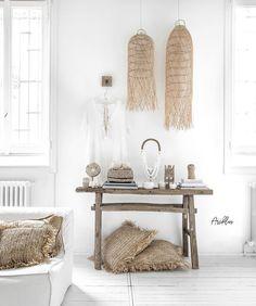 Natural Boho style by items Cli. - Natural Boho style by items Cli. Boho Chic Interior, Bohemian Bedroom Design, Bohemian Bedrooms, Modern Bedroom Design, Cafe Interior, Bedroom Designs, Boho Living Room, Coastal Living, Home Fashion