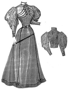 1894 Tailor Gown w/ Military Braiding: The model illustrated was of an Oxford gray mixture, trimmed with black tubular braid.  It has a short close fitting waist trimmed with braid across the bust and around the arms, at the back, and a skirt of seven breadths with four godet folds in the back.