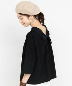 BEAUTY&YOUTH WOMENS(ビューティアンドユース ウィメンズ)のBY∴ ポンチバックリボンカットソー -2WAY-(Tシャツ/カットソー)|ブラック