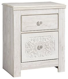 Signature Design Paxberry Nightstand in Whitewash - Ashley Furniture one-of-a-kind girl deserves a bedroom retreat that celebrates her personal flair—and the Paxberry nightstand is so befitting. Wowing with artful, carved-effect detailing a White Nightstand, 2 Drawer Nightstand, Girls Bedroom Furniture, Bedroom Decor, Bedroom Retreat, Master Bedroom, Panel Bed, Panel Headboard, Twin Headboard
