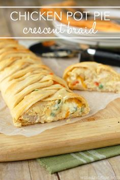 "<p>A classic comfort food wrapped in crescent rolls--this will be your new go-to! (<a href=""http://www.wineandglue.com/2014/03/chicken-pot-pie-crescent-braid.html"" target=""_blank"">get the recipe here</a>)</p>"