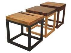 Side table made of salvaged walnut by Rotsen Furniture. - Reclaimed Wood Side table