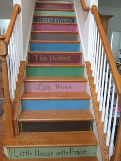 Storybook staircase - acrylic paint applies well for the titles, but used a fabric marker for Little Women