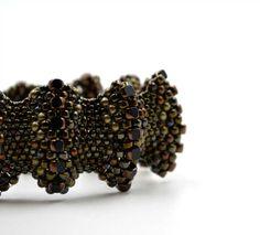 Mocca bracelet Bronze jewelry Brown beadweaving Beadwork by ensaga