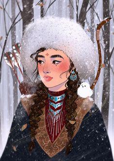 """Huntress with bird""- Art print – Pinktofu art Character Concept, Character Art, Concept Art, Fantasy Kunst, Fantasy Art, Character Portraits, Bird Art, Fantasy Characters, Cat Art"