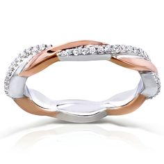 Round Diamond Two Tone Eternity Band 1/6 Carat (ctw) in 10k White and Rose Gold