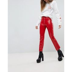 Hanger Latex Trousers ($380) ❤ liked on Polyvore featuring pants, capris, high waisted wide leg pants, skinny trousers, high waisted pants, zipper pocket pants and high-waisted pants