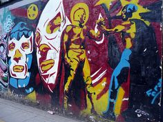 Santo and Blue Demon by BLXM, via Flickr Classic Cartoon Characters, Classic Cartoons, Grafitti Street, Street Art, Mexican Wrestler, Mexican American, Kitsch, Murals, Warriors