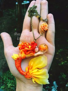 Sirena Pesce Rosso Polymer clay Collana