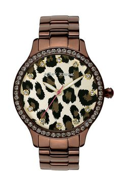 Leopard print bronze watch
