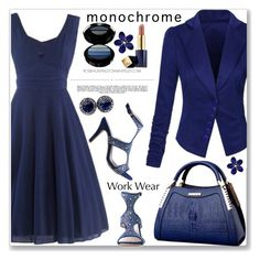 """""""Work Wear :: One Color, Head to Toe"""" by jecakns ❤ liked on Polyvore featuring Armani Beauty, Estée Lauder, Whiteley, vintage, WorkWear, monochrome, Blue, dress and rosegal"""