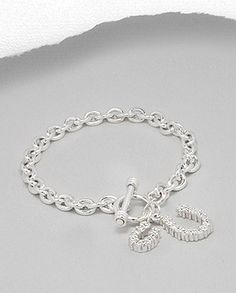 Today's Featured Sale! Double CZ Horseshoe Charms Toggle Bracelet Sterling Silver