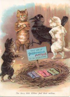 THREE LITTLE KITTENS, poos. illus. Louis Wain