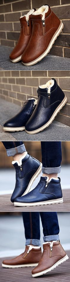 US$26.87 Men PU Leather Warm Plush Lining Side Zipper Casual Boots