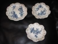 8 Pretty Blue and White German Plates with Gold Trim