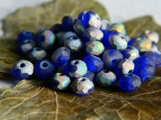 Facetted Rondelle Beads Czech Glass Fire by BeadsandmorebyYashma, £2.50