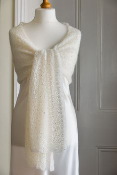 Cream coloured crochet lace wedding / bride's shawl in a silver sequined mohair and silk yarn by CrimsonRabbitBurrow on Etsy https://www.etsy.com/listing/181465180/cream-coloured-crochet-lace-wedding