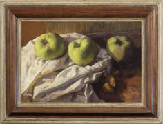 George Weissbort (1928-2013), Still life with three Bramley apples, oil on board, 24.1 x 35.2 cm. Reproduction early 18th century British pearwood frame, stained & polished