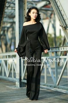 Vintage Exaggerated Long Sleeve Jumpsuit