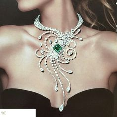 GABRIELLE'S AMAZING FANTASY CLOSET | Maurac Diamond and Emerald Fantasy Necklace