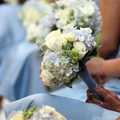 White and Cornflower Blue Bridesmaid Bouquets