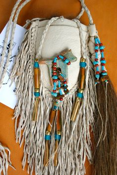 Native Spirit Horse Totem Leather Bead Medicine by JillClaireArt, $120.00