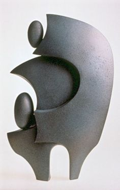 "Abstract Sculpture by Lena Arice Lucas   RELATIONSHIP   view 1 - coil built / constructed clay / ceramic, steel, acrylic, 25"" tall x 15"" wide (at widest)"