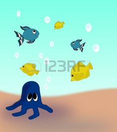 A blue octopus on the seabed and fish swimming around.