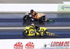 NHRA motorcycle drag racing - Karen Stoffer on the Geico machine!